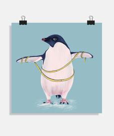 mignon gros pingouin va au régime