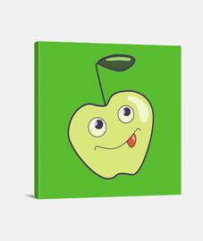 mignon pomme sourire de bande dessinée