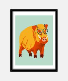 mignon sanglier drôle avec des lunettes