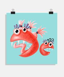 monstres drôles créatures heureuses