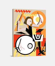 Mujer Baterista Cubismo Lienzo Vertical 330 x 40 cm