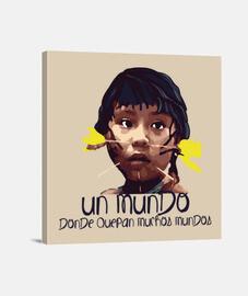 MUndo Indigena Fondo claro Lienzo Cuadrado 1:1 - (40 x 40 cm)