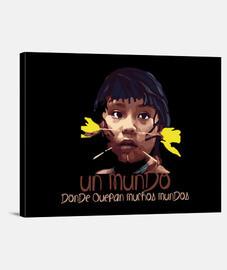Mundo Indigena Fondo oscuro Lienzo Horizontal 4:3 - (40 x 30 cm)