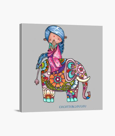 Lienzo nalini el pequeño hindú y bali el elefa