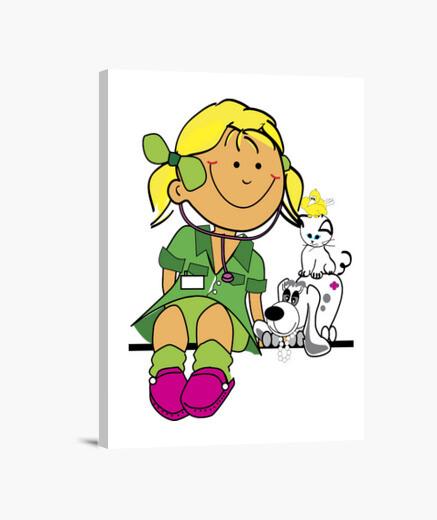 Lienzo niña-veterinaria