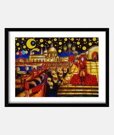Noche estrellada en Venecia, cuadro enmarcado, dibujo hecho a mano.