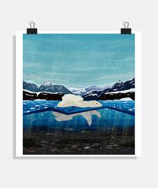 nuoto orso polare mamma e cucciolo