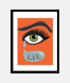 ojo verde de mentira con lágrimas