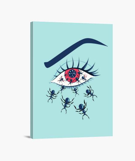 Lienzo Ojos rojos espeluznantes con hormigas r