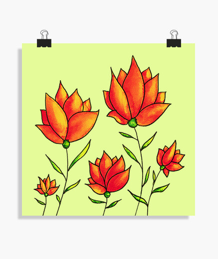 Orange Flowers Spring Watercolor poster