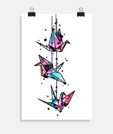 origami blanco grúa acuarela