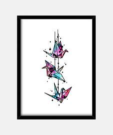 origami white crane watercolor