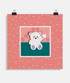 ours en peluche chanceux neigeux fond affiche carrée
