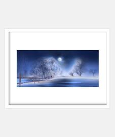 Paisaje de nieve azul