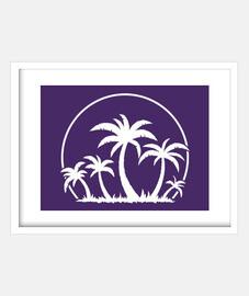 palmiers et coucher de soleil en blanc