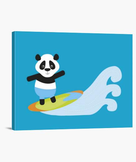 Lienzo panda de surf
