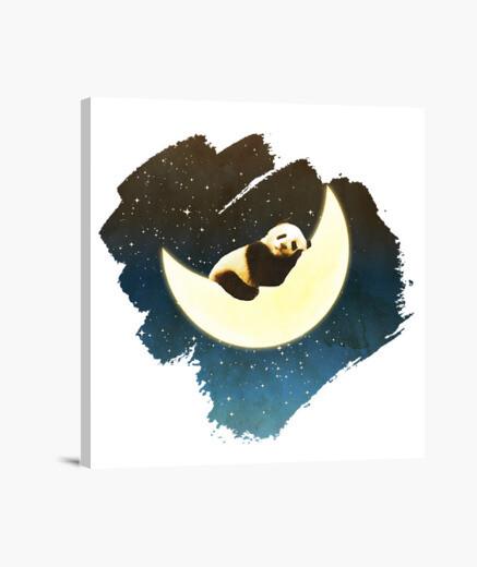 Lienzo panda durmiendo en la luna