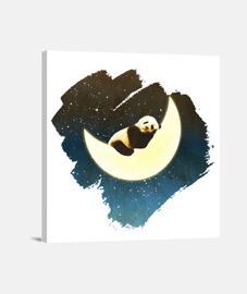 panda durmiendo en la luna