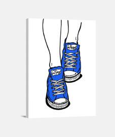 pantoufles bleu