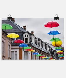 Paraguas en Viborg, Dinamarca