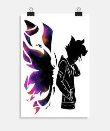 personaje de anime con alas de colores