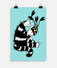 personaje de gato extraño con pata extr