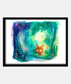 petit renard dans la forêt - 30x40cm