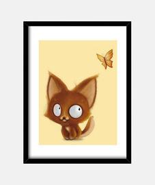 petit renard et papillon - 30x40 cm