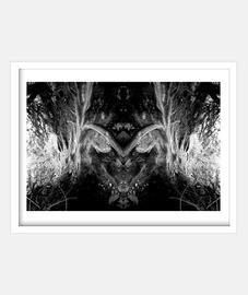 Photographie surréaliste originale abstraite symétrique noir et blanc