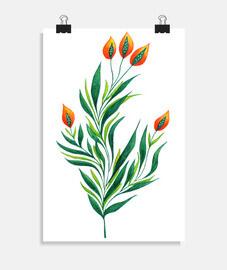pianta verde con boccioli arancioni