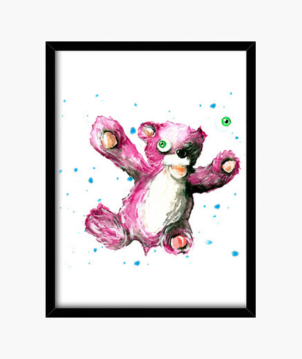 Picture with black frame breaking bad bear framed print