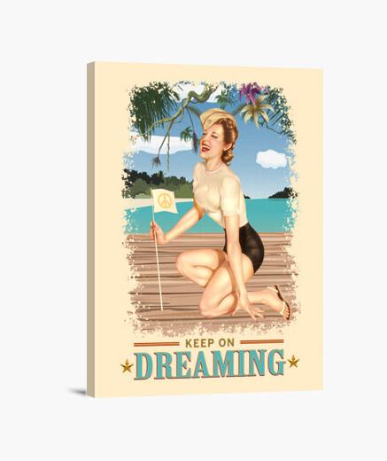 Lienzo Pinup - Playa - Sigue soñando - Vintage