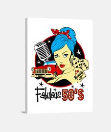 pinup rockabilly musique des années 1950 vintage rock and roll rockers impression sur toile