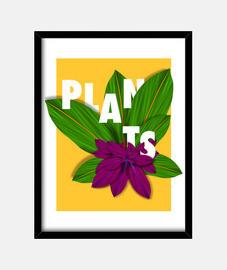 Plants - Cuadro con marco negro vertical 3:4 (15 x 20 cm)
