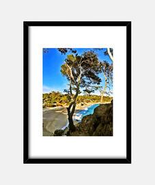 Playa - Cuadro con marco negro vertical 3:4 (15 x 20 cm)