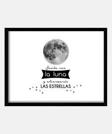 pleine lune, les étoiles, de motivation boîte de phrase avec cadre horizontal 4: 3 (40 x 30 cm) de p