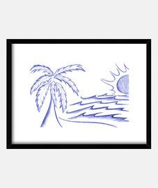 pluma de dibujo de la palma