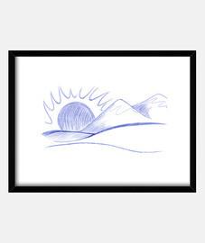 pluma de dibujo de montañas