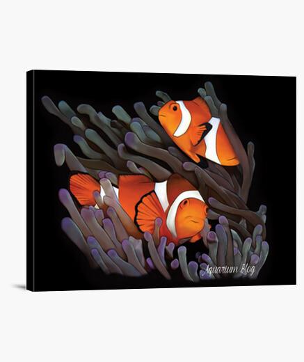 Tableau poisson clown exclusif en toile noire