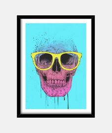 pop art skull with glasses frame