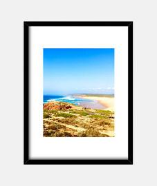 Portugal Beach - Cuadro con marco negro vertical 3:4 (15 x 20 cm)