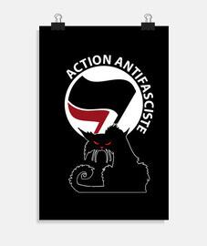 poster - gatto antifa rosso
