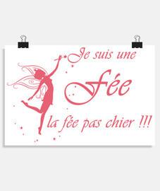 Poster - je suis une fée (rose bonbon)