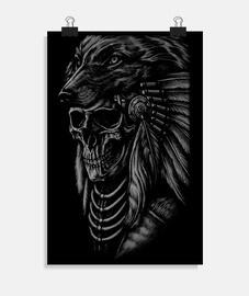 Poster - Wolf Apache Skull