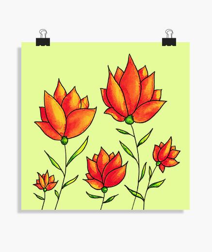 Poster aquarelle de printemps fleurs orange