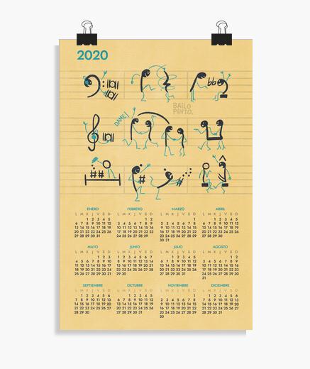 Póster Calendario 2020 Notas musicales