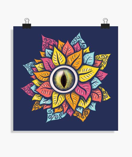 Poster coloré oeil reptile fleur bizarre...