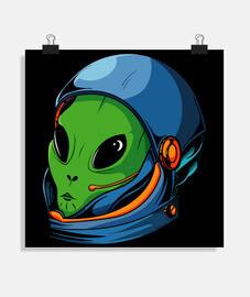 Póster cuadrado alien astronauta