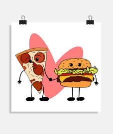 Póster cuadrado Love Food 40 x 40 cm