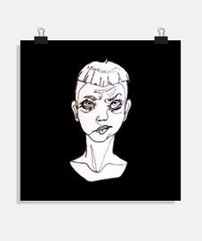 """Poster cuadrado original ilustración """"one line"""" con fondo negro sad boy"""